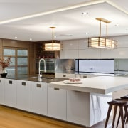 Wood floors. Natural tones. Japanese inspiration. Remodelled kitchen. cabinetry, ceiling, countertop, cuisine classique, hardwood, interior design, kitchen, room, wood flooring, gray