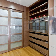 Wood floors. Natural tones. Japanese inspiration. Remodelled kitchen. cabinetry, closet, interior design, kitchen, gray