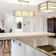 Wood floors. Natural tones. Japanese inspiration. Remodelled kitchen. countertop, interior design, kitchen, real estate, room, white
