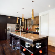 Balinese design influence. Dark-roasted American oak floorboards. Mousse countertop, interior design, kitchen, table, white