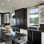 Euro style cabinetry doors. Dark quartzite counter tops. ceiling, countertop, cuisine classique, interior design, kitchen, room, gray, black