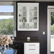 Euro style cabinetry doors. Dark quartzite counter tops. cabinetry, countertop, home, interior design, kitchen, window, gray, black
