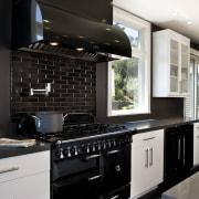 Euro style cabinetry doors. Dark quartzite counter tops. countertop, home appliance, interior design, kitchen, black, white