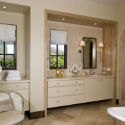 This master suite was designed by Martin Horner bathroom, bathroom accessory, bathroom cabinet, cabinetry, estate, floor, home, interior design, room, window, brown, gray