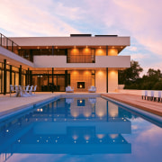 View of pool area. - View of pool architecture, estate, home, house, leisure, leisure centre, property, real estate, reflection, resort, resort town, swimming pool, villa