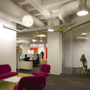 As a part of the lighting plan, the ceiling, daylighting, institution, interior design, lobby, office, gray, brown