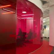As a part of the lighting plan, the architecture, ceiling, design, floor, glass, interior design, light, product design, red, wall, red