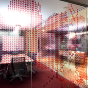 "View of one of the multiple ""quiet rooms"" architecture, design, glass, interior design, pattern, red, wall, window, red, white"