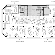 Floor plan for the offices of the Public area, black and white, design, diagram, drawing, floor plan, font, line, plan, product, product design, text, white