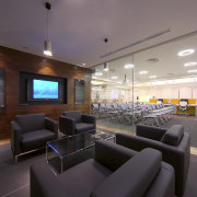 Contemporary offices of  the Real Estate Developer's architecture, ceiling, interior design, lobby, real estate, gray, black
