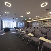 Contemporary offices of  the Real Estate Developer's ceiling, conference hall, interior design, gray, black