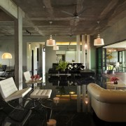 This house was designed by Dr Tan Loke ceiling, home, interior design, living room, lobby, loft, real estate, brown, black