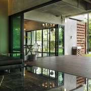 This house was designed by Dr Tan Loke architecture, glass, house, interior design, lobby, black, brown