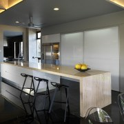 This house was designed by Dr Tan Loke architecture, countertop, house, interior design, kitchen, real estate, gray, black