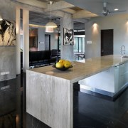 This house was designed by Dr Tan Loke cabinetry, countertop, interior design, kitchen, gray, black