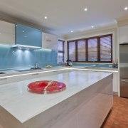 Designer Mal Corby. Corian Clam Shell bench top. countertop, estate, interior design, kitchen, property, real estate, gray