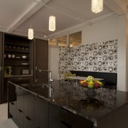 Designer Sandra Banks.Upmarket kitchen. Titanium granite bench top. cabinetry, countertop, interior design, kitchen, real estate, room, black, brown