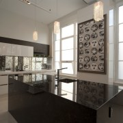 Designer Sandra Banks. Titanium Granite Bench top. Upmarket countertop, flooring, interior design, kitchen, room, gray, black