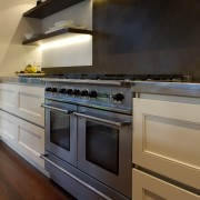Robyn Lab Kitchen with chefs oven. - Robyn cabinetry, countertop, cuisine classique, floor, flooring, gas stove, hardwood, home appliance, interior design, kitchen, kitchen appliance, kitchen stove, major appliance, oven, room, under cabinet lighting, wood, wood flooring, brown, black