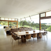 This house was designed by Tim Wright AIA architecture, dining room, house, interior design, property, real estate, table, window, white