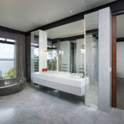 This master suite in a contemporary new house architecture, estate, floor, interior design, real estate, gray