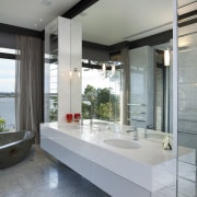 This master suite in a contemporary new house architecture, house, interior design, window, gray