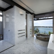 This master suite in a contemporary new house architecture, bathroom, estate, floor, interior design, real estate, room, gray