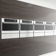 View of modern kitchen fitted with Kleenmaid appliances. floor, furniture, product design, shelving, white, black