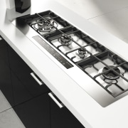 View of modern kitchen fitted with Kleenmaid appliances. black and white, countertop, furniture, gas stove, kitchen, kitchen stove, product design, sink, table, tap, white, black