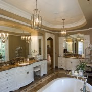 This is a master suite designed by Chuck bathroom, ceiling, countertop, cuisine classique, estate, home, interior design, kitchen, room, gray, brown