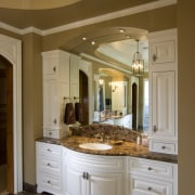 This is a master suite designed by Chuck bathroom, cabinetry, ceiling, countertop, cuisine classique, estate, floor, home, interior design, kitchen, room, brown