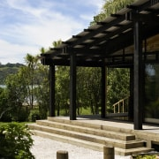 The timber for this house is treated with outdoor structure, pergola, sky, walkway, wood, white, black