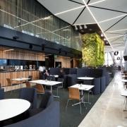View of public space in the Novotel Auckland architecture, café, interior design, restaurant, black, gray