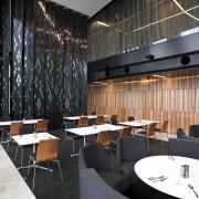 View of public space in the Novotel Auckland furniture, interior design, restaurant, black
