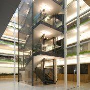 View of the interior of the Vogel Center architecture, building, daylighting, glass, interior design, lobby, stairs, structure, window