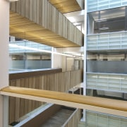 View of the interior of the Vogel Center architecture, daylighting, shelf, shelving, gray