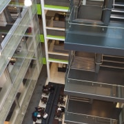 View of the interior of the Vogel Center architecture, building, glass, stairs, black, gray
