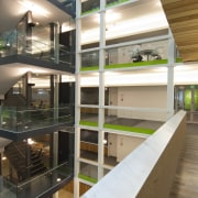 View of the interior of the Vogel Center architecture, glass, interior design, brown, white