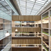View of the interior of the Vogel Center architecture, daylighting, brown, white