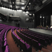 View of the interior stage/seating area of the auditorium, performing arts center, stage, structure, theatre, black