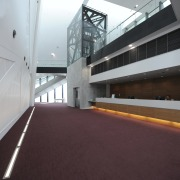 View of the interior of the Albany Entertainment architecture, building, daylighting, floor, structure, red, gray