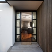 This new house was designed by Richard Furze architecture, daylighting, door, home, house, interior design, black, gray