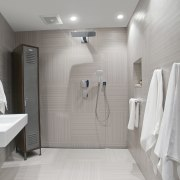 This bathroom was the winner of the small bathroom, floor, flooring, home, interior design, plumbing fixture, room, tile, gray
