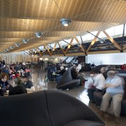 View of the interior of Christchurch Airport. Organic passenger, structure, black