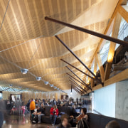 View of the interior of Christchurch Airport. Organic architecture, ceiling, daylighting, interior design, orange, black