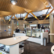 View of the interior of Christchurch Airport. Organic institution, interior design, office, brown
