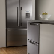 View of kitchen featuring appliances from Fisher & floor, home appliance, interior design, kitchen, kitchen appliance, major appliance, product design, refrigerator, gray, brown