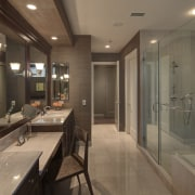 This master suite was designed by the Gary bathroom, ceiling, countertop, interior design, real estate, room, brown