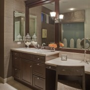 This master suite was designed by the Gary bathroom, cabinetry, countertop, cuisine classique, home, interior design, kitchen, room, sink, brown