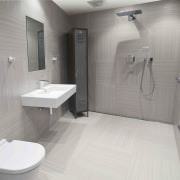 This bathroom was the winner of the small bathroom, floor, plumbing fixture, property, room, toilet, gray